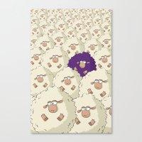 Sheep Pattern | Purple Canvas Print