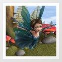 Flying Little Fairy Butterfly Art Print