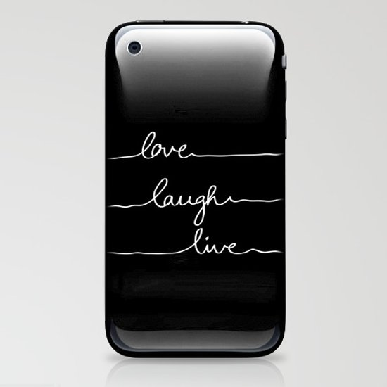 Love Laugh Live (Black) iPhone & iPod Skin