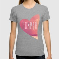 Summer Love Womens Fitted Tee Tri-Grey SMALL