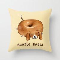 Beagle Bagel Throw Pillow