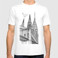 NYC Silhouettes Mens Fitted Tee White SMALL