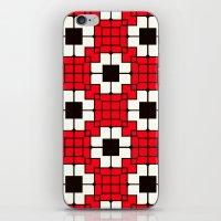 Retro Mosaic Red & Black iPhone & iPod Skin