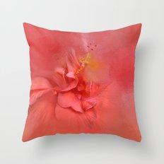 Salmon Hibiscus 2 - Floral Throw Pillow