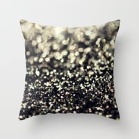 Black And Silver Glitter Throw Pillow
