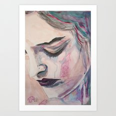 woman, face, portrait, passion, passionate, hand, lips, longing, desire, loneliness, painting, acryl Art Print