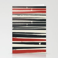 Navy Red Stripes Stationery Cards