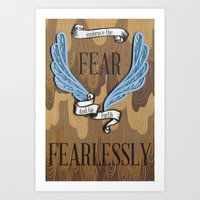Embrace the fear and go forth fearlessly - paper art print Art Print