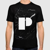 Black Marble - Alphabet P Mens Fitted Tee Black SMALL