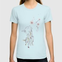 The Little Kitty  Womens Fitted Tee Light Blue SMALL