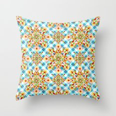 Blue Gingham Pastel Mandala Throw Pillow