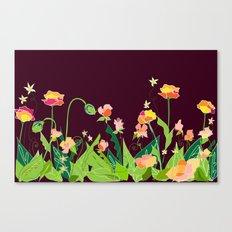 Modern Wildflower Garden - Chocolate Background Canvas Print