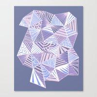 Drawn and digital ice blue triangle pattern print Canvas Print