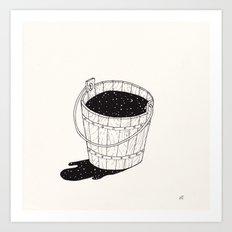 bucket of milk Art Print