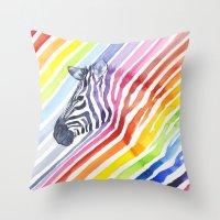 Rainbow Zebra Pattern (square) Throw Pillow