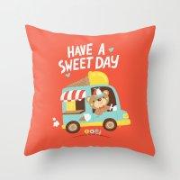 Ice Cream Bear Throw Pillow