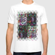 Paisley Panels White SMALL Mens Fitted Tee