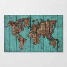 Wood Map Canvas Print