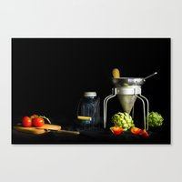 Light Painted Still Life of Tomatoes and Canning Objects Canvas Print