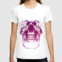 Purple Crystal Skull Womens Fitted Tee White SMALL