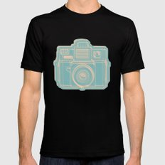 I Still Shoot Film Holga Logo - Reversed Turquoise/Tan Mens Fitted Tee Black SMALL