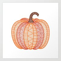 Patterned Pumpkin Art Print