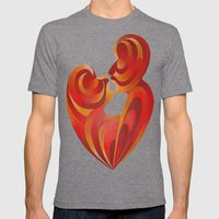 Lovers Kiss And Their Bodies Form A Love Heart  Mens Fitted Tee Tri-Grey SMALL