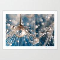 Dandelion Blue Sparkling Drops Art Print