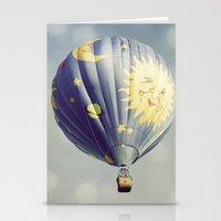 Moon and Stars Hot Air Balloon Stationery Cards