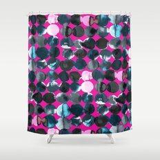 Magenta Ink Dots Shower Curtain