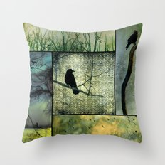Square Of Crows Throw Pillow