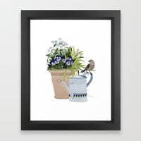Pansies in a pot Framed Art Print