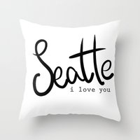 Seattle I Love You  Throw Pillow