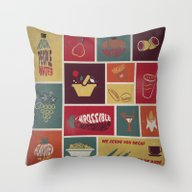 Vintage Food Collage Old… Throw Pillow
