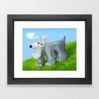 Dog With Cloud Heart Framed Art Print