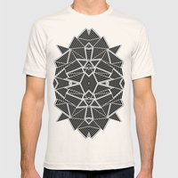 Abstract Lines Black And… Mens Fitted Tee Natural SMALL