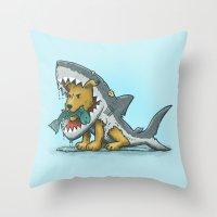 Shark Suit Dog Throw Pillow