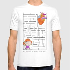 labyrinth White SMALL Mens Fitted Tee
