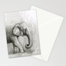 Elephant Watercolor Black and White Animal Painting Stationery Cards