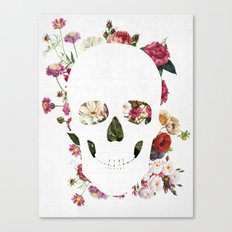 Skull Grunge Flower 2 Canvas Print