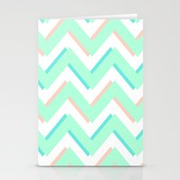 3D CHEVRON MINT/PEACH/TEAL Stationery Cards