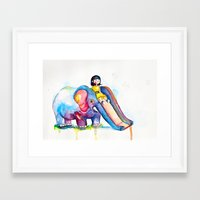 Elephant Slide Framed Art Print