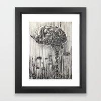 Helmet of Resolution - Black and white lithograph Framed Art Print