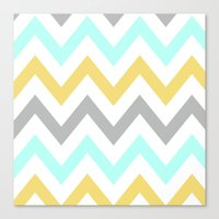 BLUE/GRAY/YELLOW CHEVRON Canvas Print