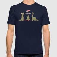 Merry Extinction  Mens Fitted Tee Navy SMALL