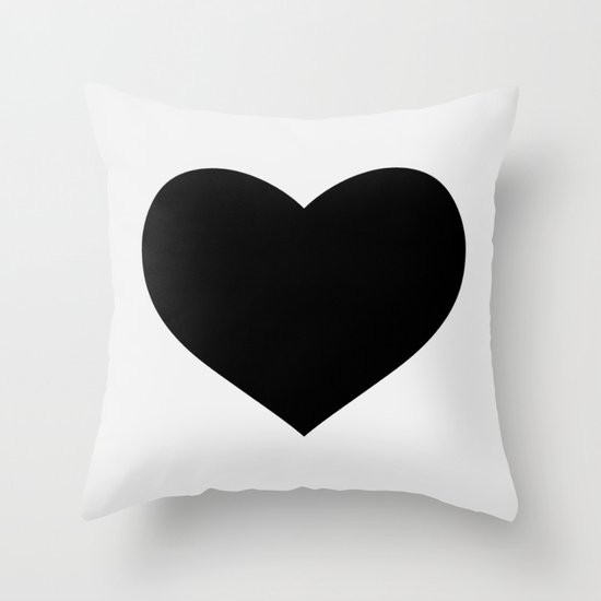 White Heart on Black Throw Pillow by The Sweet Escape Society6
