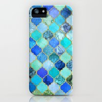 iPhone 5s & iPhone 5 Cases featuring Cobalt Blue, Aqua & Gold Decorative Moroccan Tile Pattern by micklyn