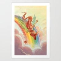 Goblins Drool, Fairies Rule! - Rainbow Swoop Art Print