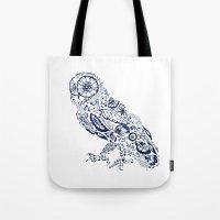 Folk Floral Indigo Owl Tote Bag