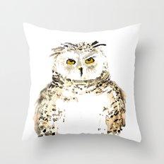 Snowy Owl watercolor Throw Pillow